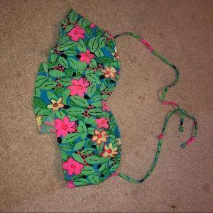 floral bandeau bathing suit bikini top